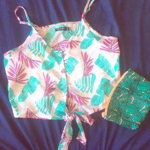 Nasty gal tropical print crop top with bag
